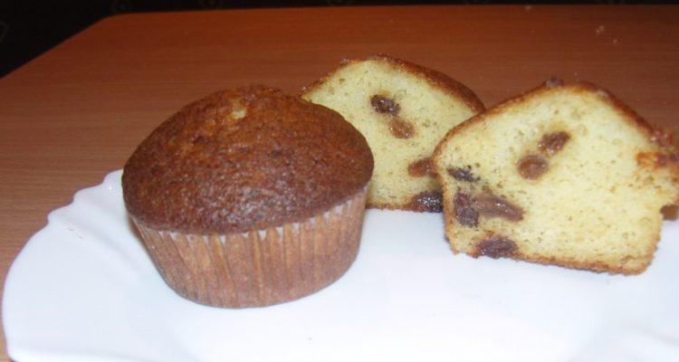 mazsolás túrós muffin közelről